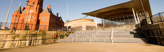The National Assembly for Wales Senedd and The Pierhead at Cardiff Bay.