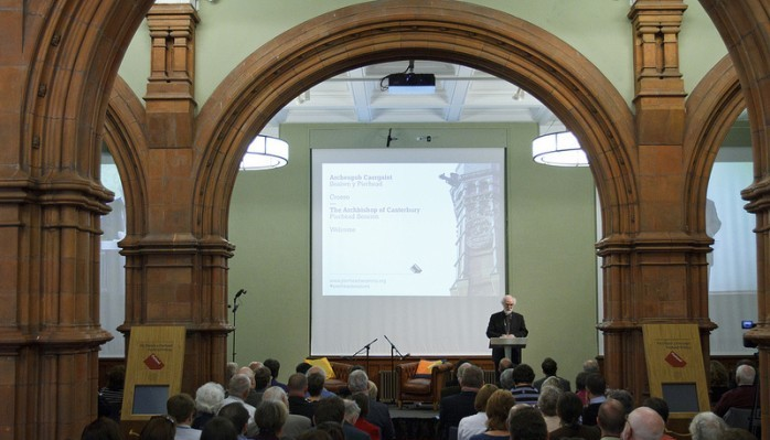 The Archbishop of Canterbury, Dr Rowan Williams addressing an audience at The Pierhead.