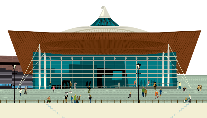 Front view of the Senedd with a variety of people outside.
