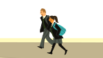 A schoolgirl and schoolboy walking together.