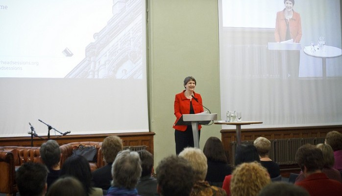 Former Prime Minister of New Zealand, Helen Clark addressing an audience at The Pierhead.