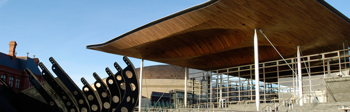 A photo of the front of the Senedd.