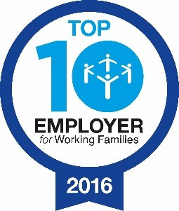 Logo for being a top ten employer for Working families