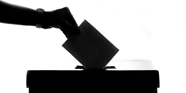 Person casting their vote in a ballot box