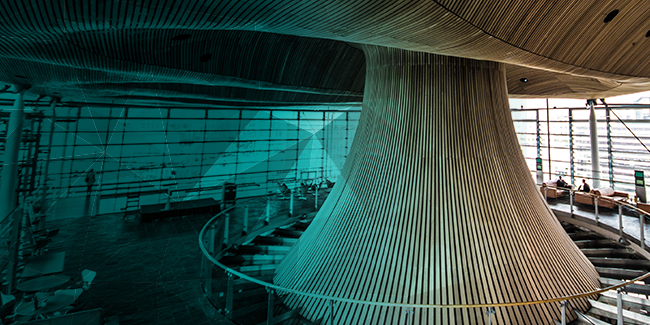 The inside of the Senedd in Cardiff Bay