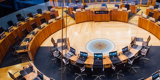 The Senedd debating chamber