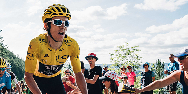 Geraint Thomas yellow jersey in the Tour De France 2018