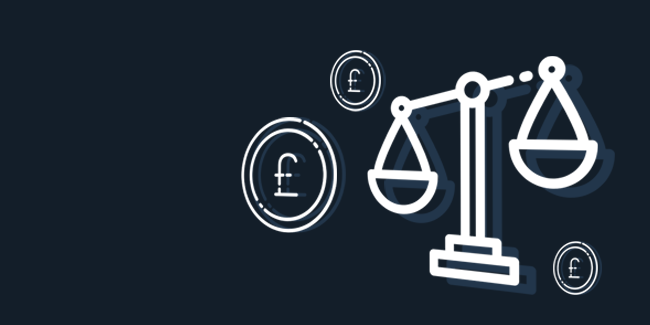 Law scales and coins icons