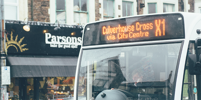 Bus service in Cardiff, Wales