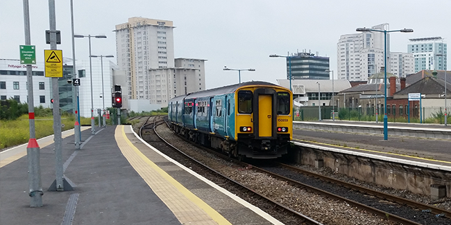 Train approaching Cardiff station