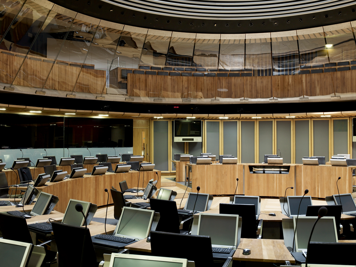 Birds eye view of the debating chamber