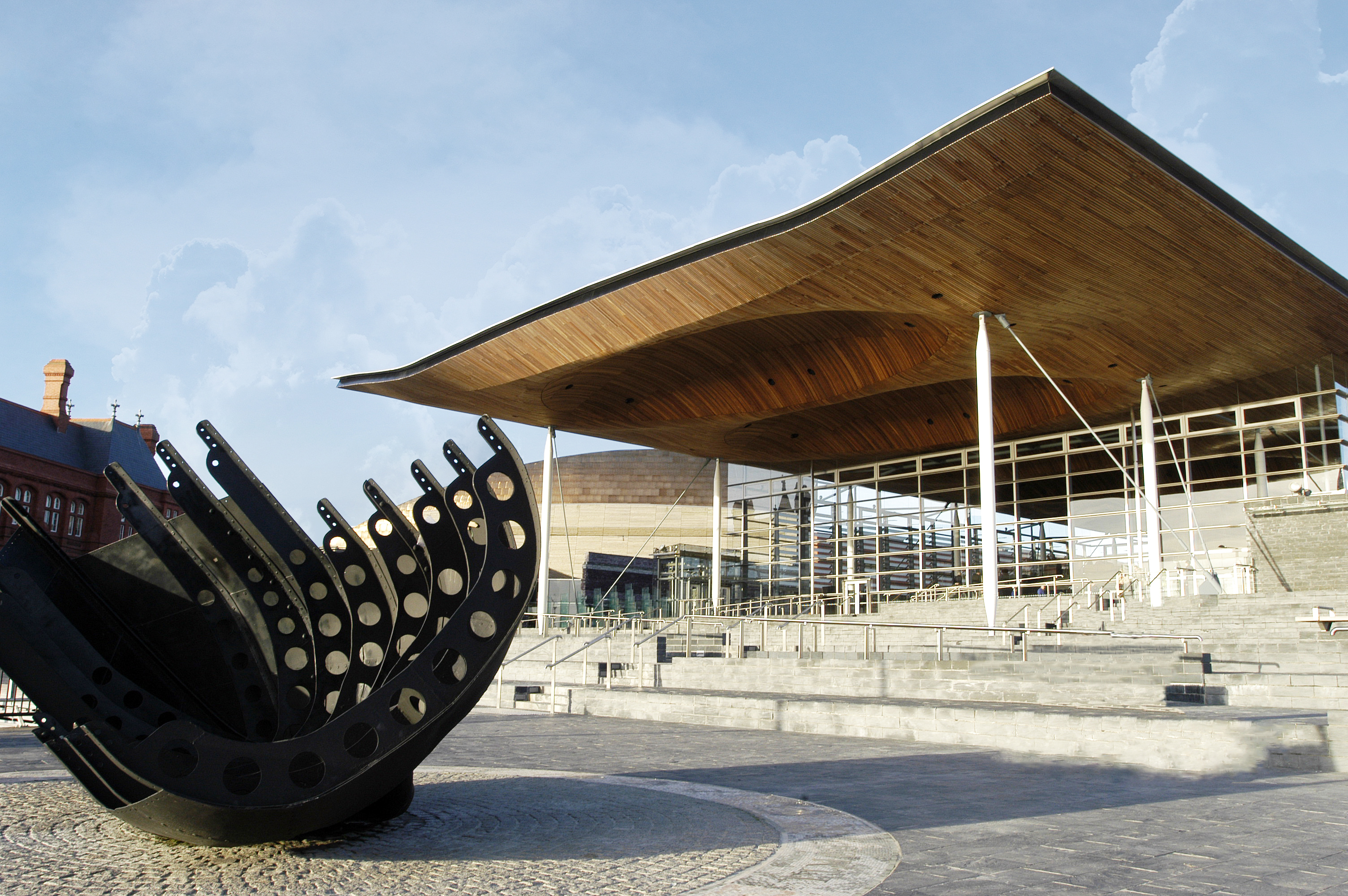 Front view of the outside of the Senedd